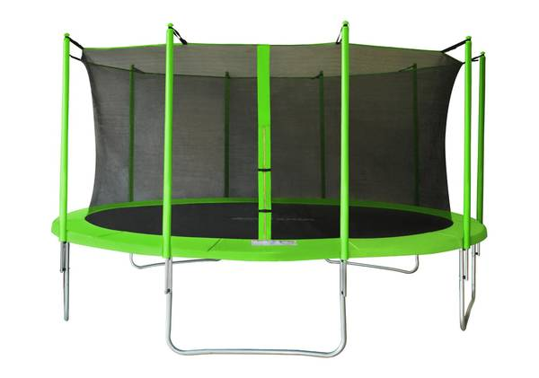 Test Trampoline essential 365 vert filet de protection domyos